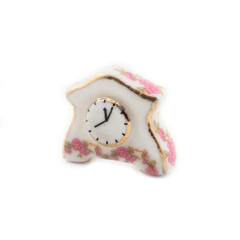 Dolls House White Pink Rose Mantle Clock Ceramic 1:12 Accessory