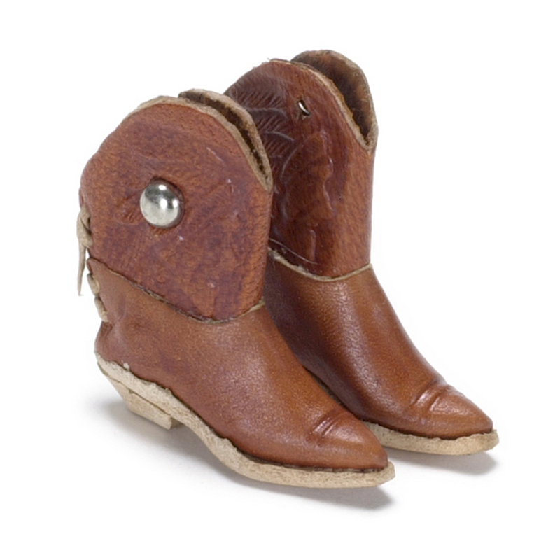 Dolls House Brown Cowboy Boots Shoes Miniature Hall Ranch Accessory 1:12