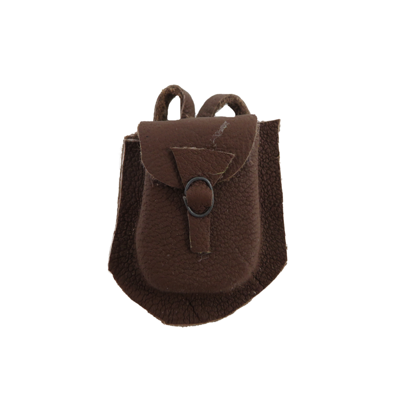 Dolls House Brown Leather Backpack Camper Bag Miniature Western Cowboy Accessory