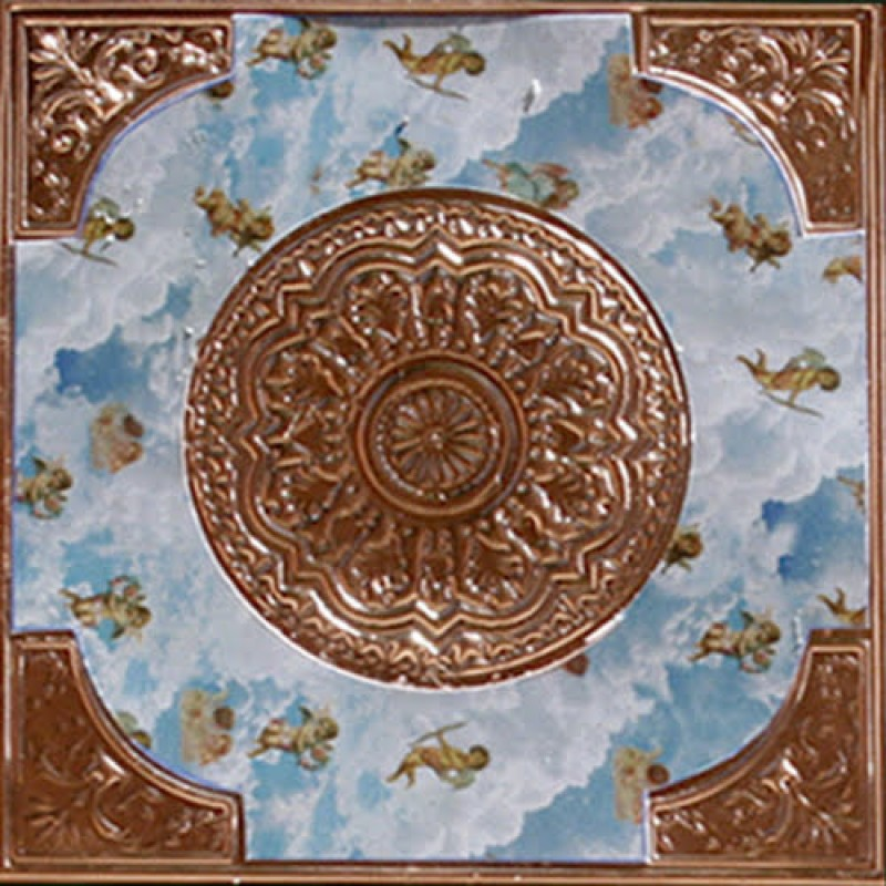 Dolls House Square Ceiling Rose Copper with Angels Miniature Light Accessory