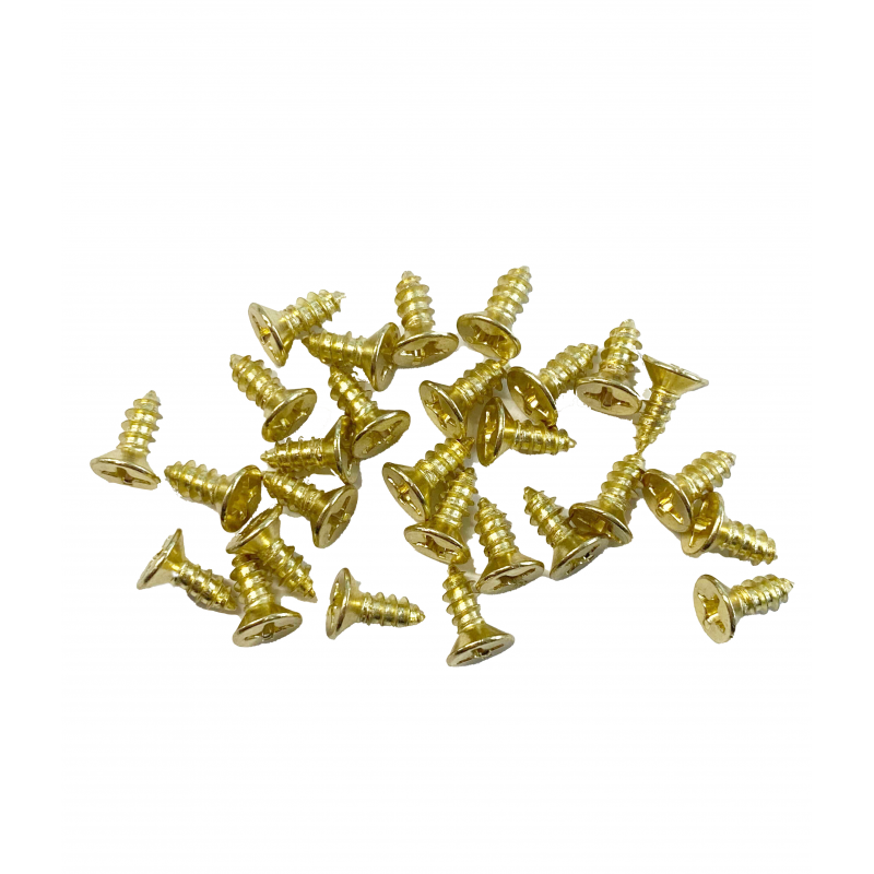 Dolls House 28 Small Brass Screws for Cranked Hinges Miniature Hardware DIY