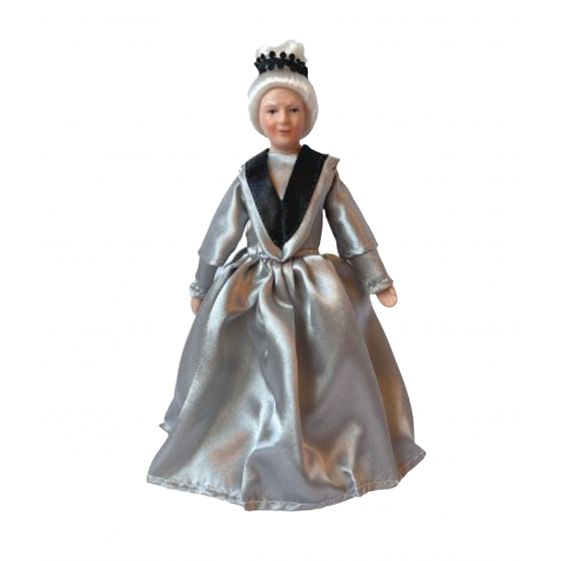 Dolls House Victorian Old Lady in Grey Gown Porcelain Woman 1:12 People