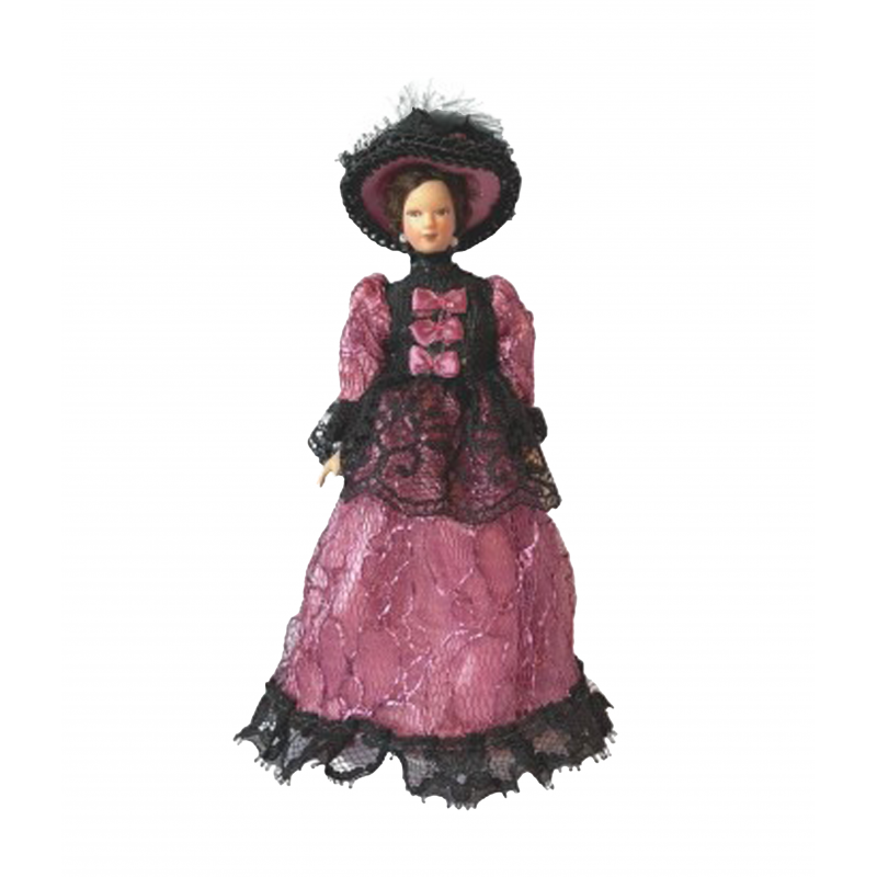 Dolls House Victorian Lady in Purple Gown & Hat Porcelain Woman 1:12 People