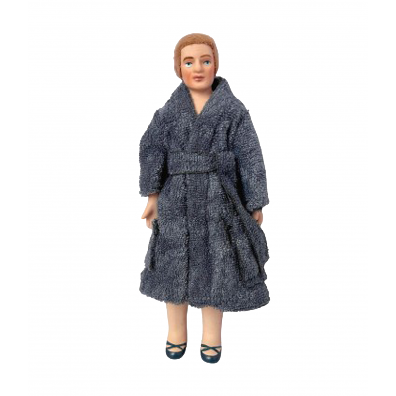 Dolls House Modern Man in Blue Dressing Gown Porcelain Dad 1:12 People