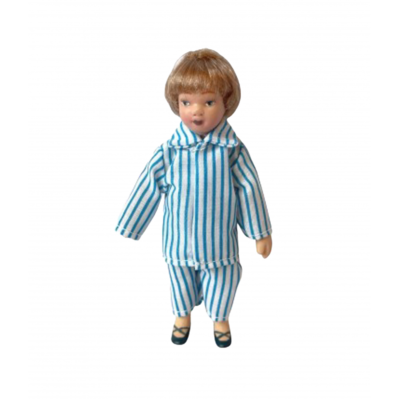 Dolls House Little Boy in Blue and White Pyjamas Porcelain 1:12 Scale People