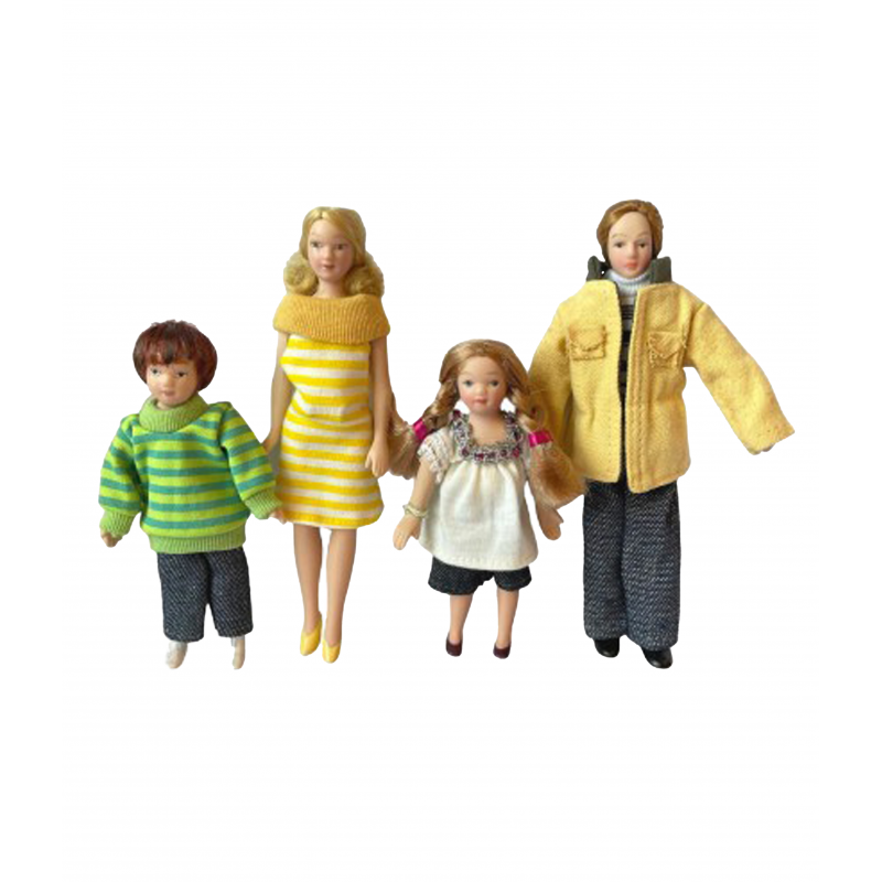 Dolls House Family of 4 People Miniature Modern Porcelain Figures 1:12 Scale
