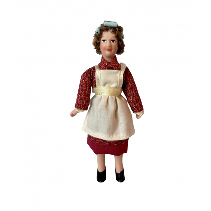 Dolls House Woman in Apron and Curlers Miniature Porcelain 1:12 People