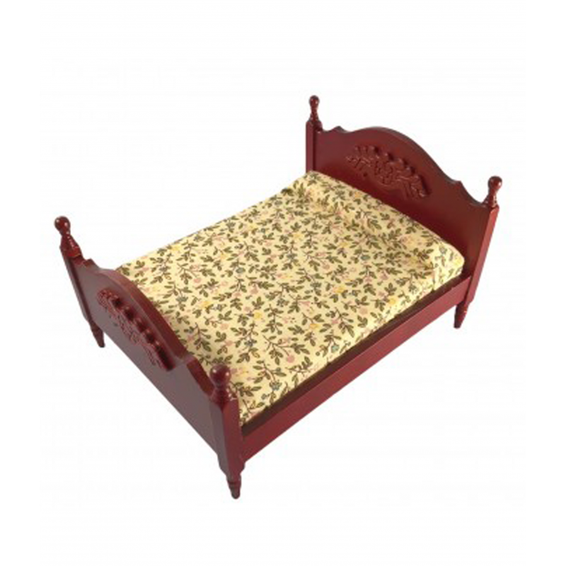 Dolls House Mahogany Double Bed with Mattress Miniature Bedroom Furniture 1:12
