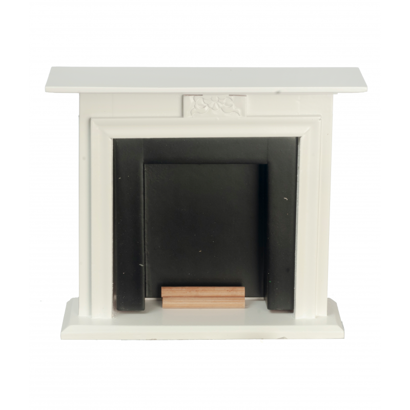 Dolls House White & Black Fireplace with Logs Miniature Furniture 1:12 Scale