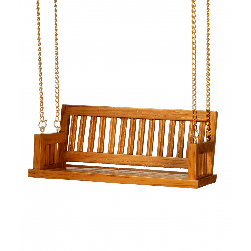 Dolls House Walnut Porch Swing with Chain Miniature Garden Furniture 1:12 Scale
