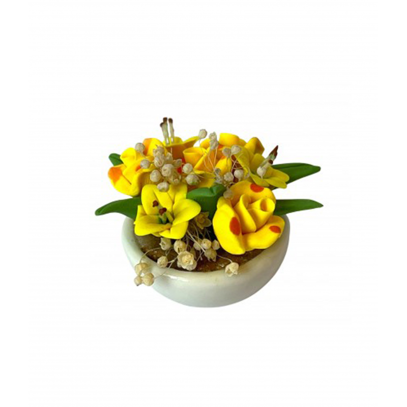Dolls House Yellow Flowers in White Bowl Miniature Home Decor Garden Accessory