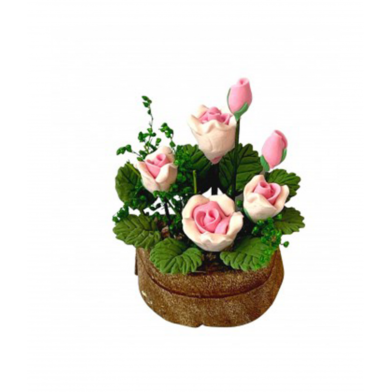 Dolls House Pink Roses in a Half Moon Tub Miniature Flowers Garden Accessory
