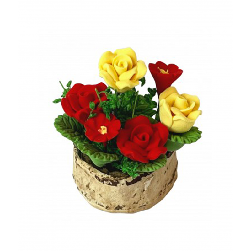 Dolls House Red & Yellow Flowers in Half Moon Tub Miniature Garden Accessory