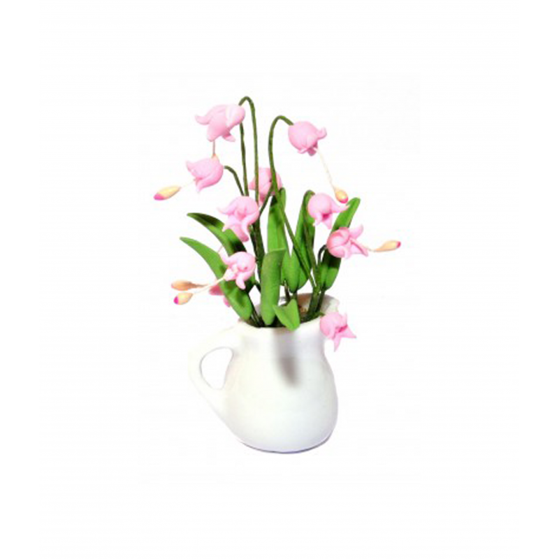 Dolls House Pink Orchids in Vase Miniature Flowers Decor Accessory 1:12 Scale