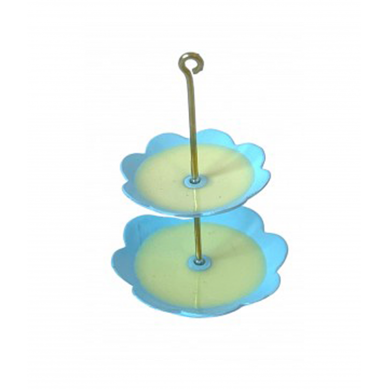 Dolls House Yellow & Blue 2 Tier Cake Stand Afternoon Tea Dining Room Accessory