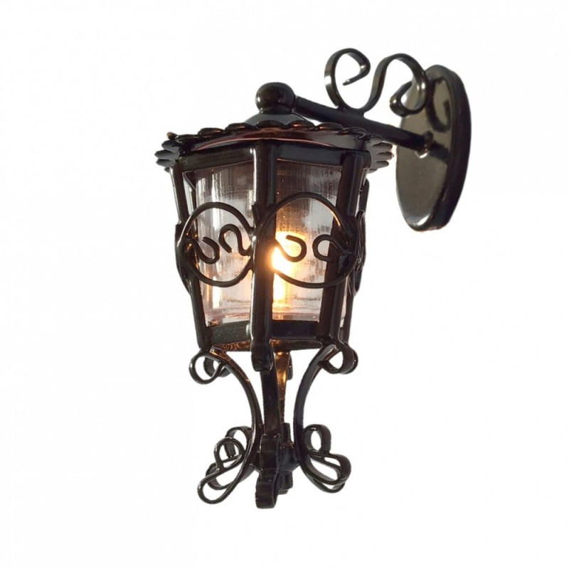Dolls House Black Carriage Coach Lamp Ornate Hanging Outside Wall Light Electric