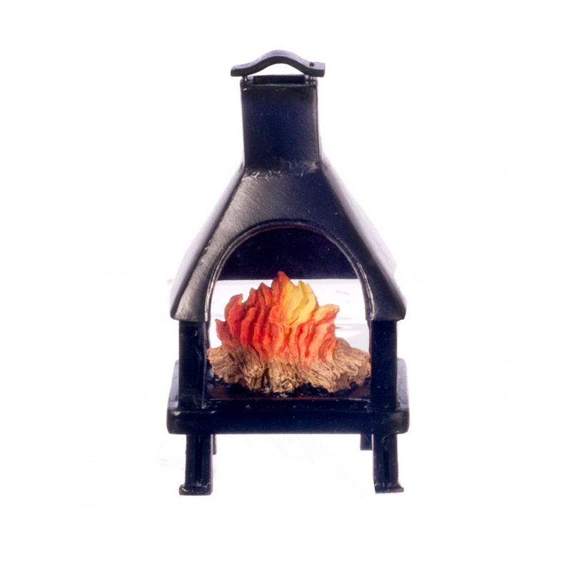 Dolls House Black Chiminea Outdoor Fireplace w Flaming Fire 1:12 Resin Furniture