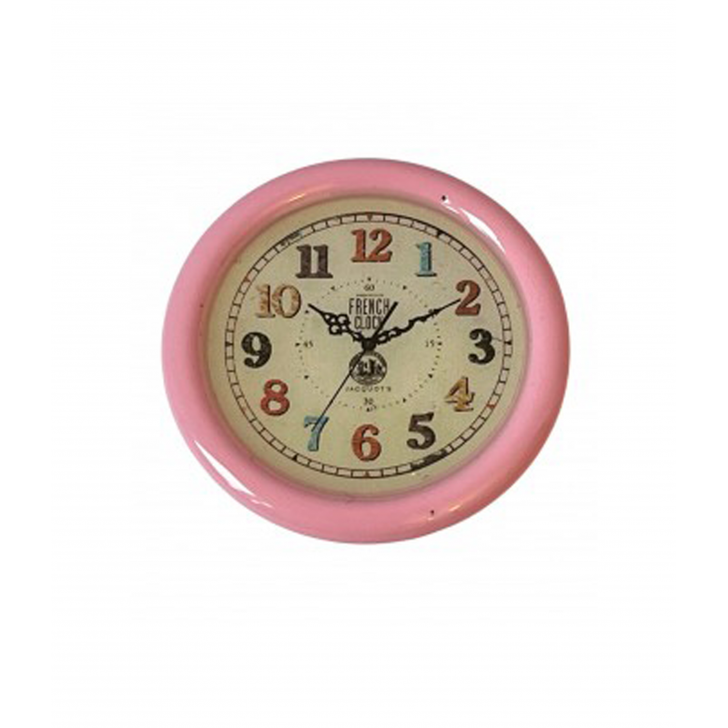 Dolls House Large Pink French Wall Clock Round Miniature Living Room Accessory