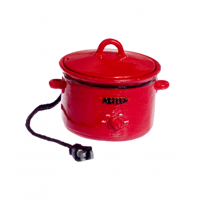 Dolls House Red Crockpot Slow Cooker with Cord Miniature Kitchen Accessory 1:12