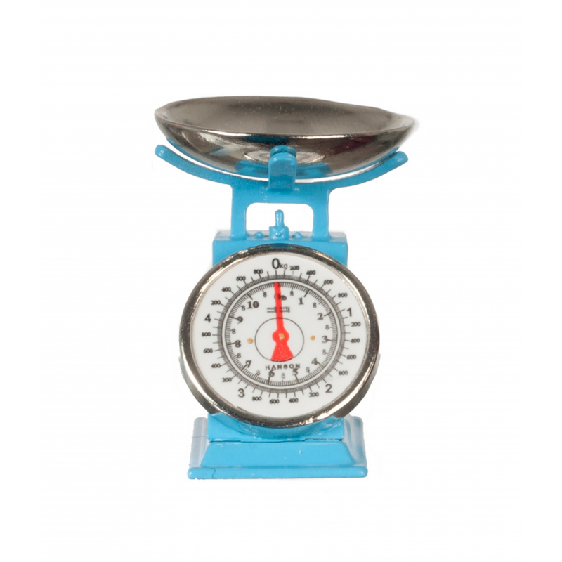 Dolls House Blue Weighing Scales Miniature Kitchen Grocery Shop Accessory 1:12