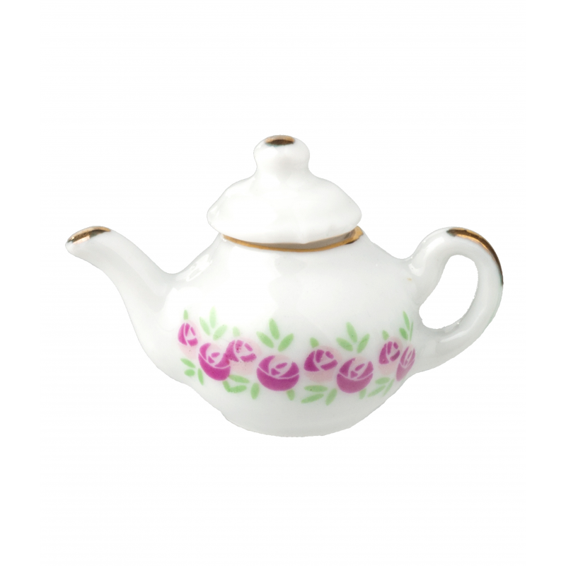 Dolls House Pink & White Floral Teapot Miniature Kitchen Dining Accessory 1:12