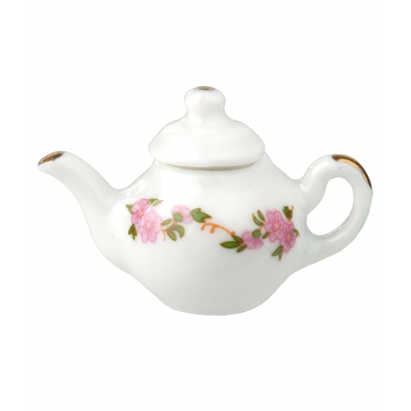 Dolls House White Teapot with Pink Flowers Miniature Kitchen Dining Accessory