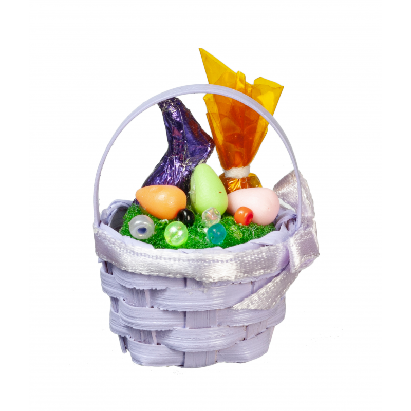 Dolls House Purple Easter Basket with Chocolate Bunny Miniature 1:12 Accessory