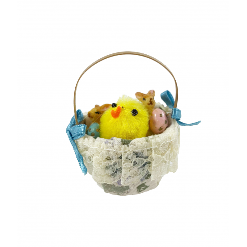 Dolls House Special Easter Basket with Chick & Bunnies Miniature Accessory