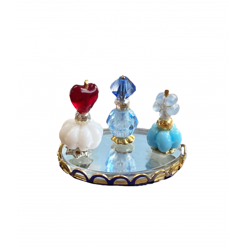 Dolls House Red, White & Blue Perfume Bottles on Tray Miniature Ladies Accessory