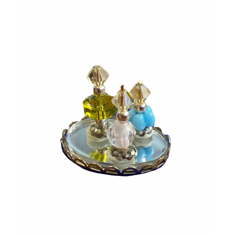 Dolls House Green & Blue Perfume Bottles on Tray Miniature Ladies Accessory 1:12