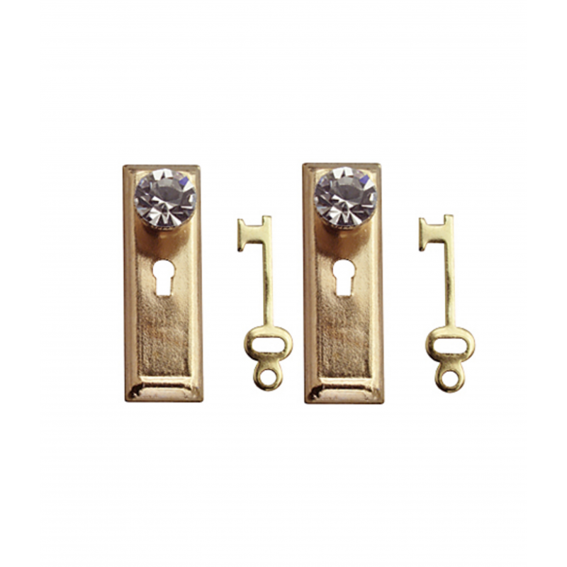 Dolls House Crystal Classic Handles Knobs with Keys Miniature Door Furniture