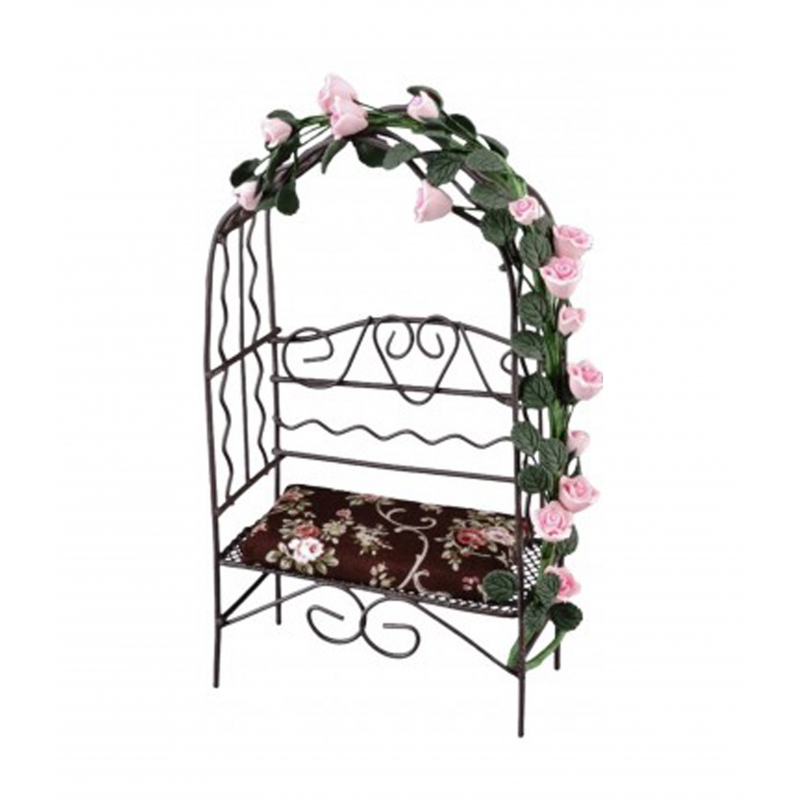 Dolls House Brown Arbour Bench with Roses Miniature Reutter Garden Furniture