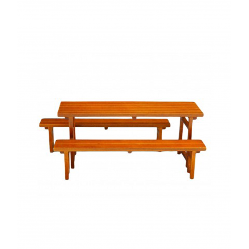 Dolls House Wooden Table with 2 Benches Miniature Reutter Garden Patio Furniture