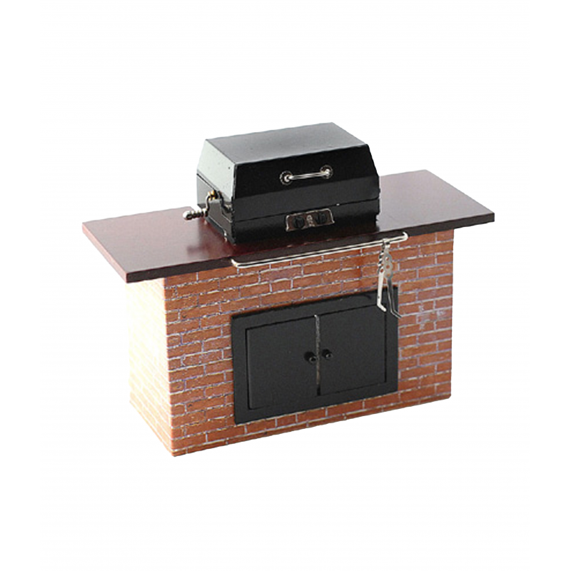 Dolls House Barbeque Grill in Wooden Unit Reutter BBQ Garden Furniture 1:12