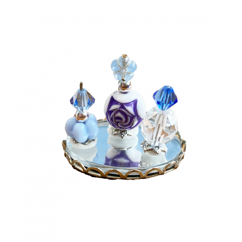 Dolls House Pale Blue Perfume Bottles on Tray Miniature Ladies Accessory 1:12