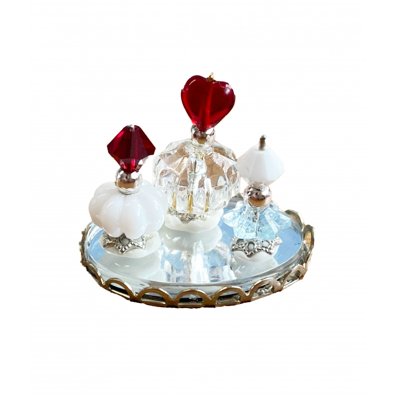 Dolls House Red & White Perfume Bottles on Tray Miniature Ladies Accessory 1:12