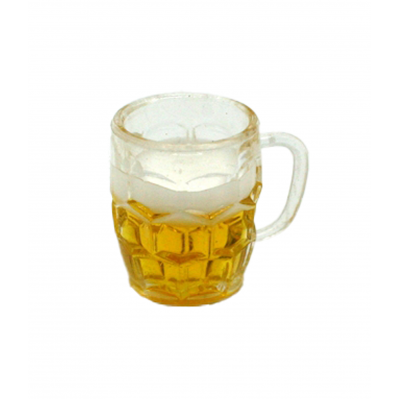 Dolls House Glass of Lager Ale Miniature Beer in Mug 1:12 Pub Bar Accessory