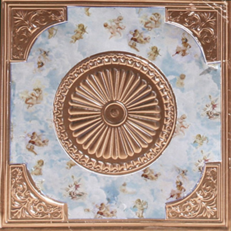 Dolls House Copper Square Ceiling with Angels & Clouds Miniature Light Accessory