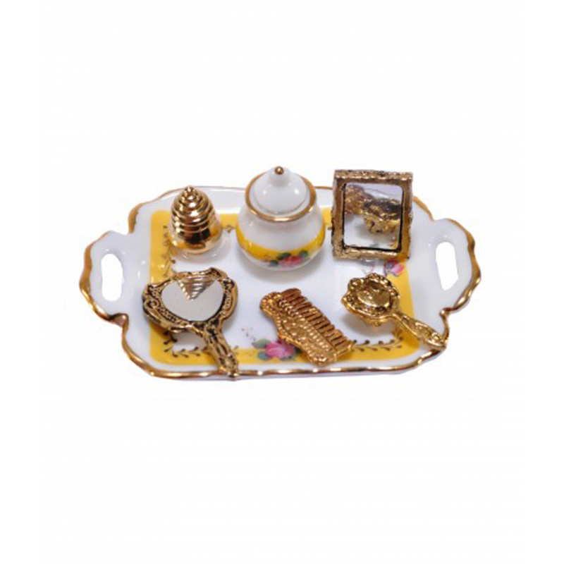 Dolls House French Rose Cosmetic Tray with Mirror Reutter Bedroom Accessory 1:12