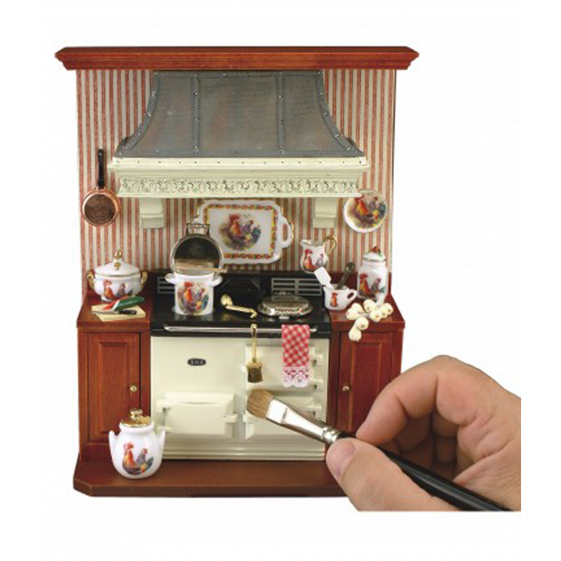 Dolls House Cream Aga Wall Stove with Accessories Reutter Kitchen Furniture 1:12