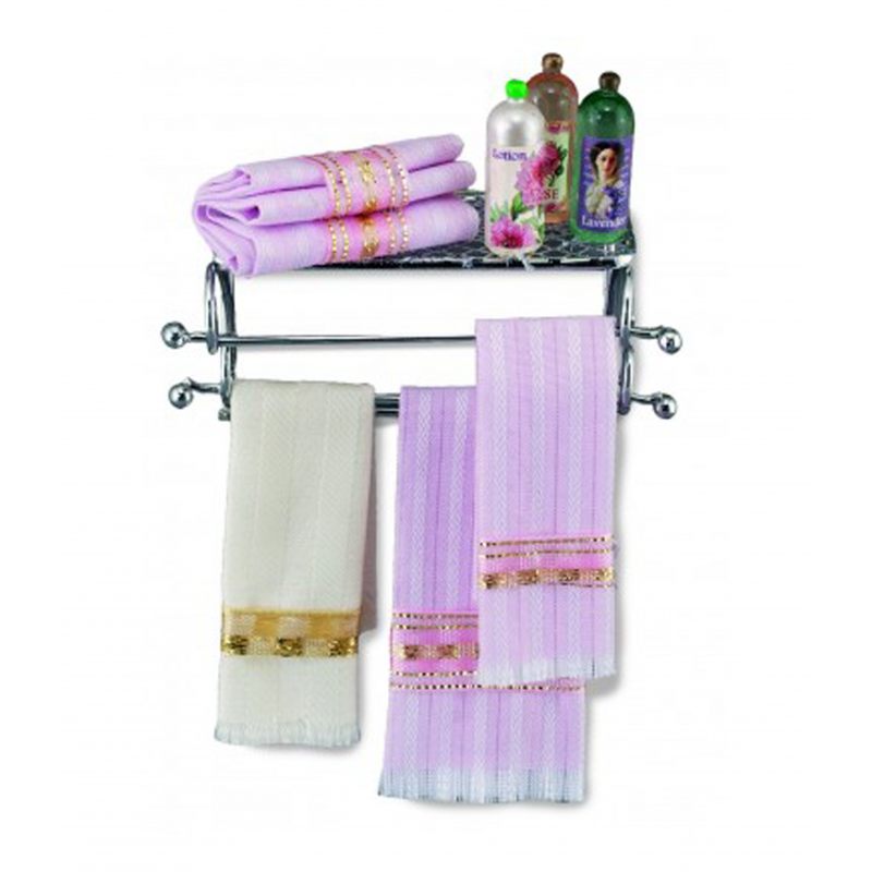 Dolls House Silver Towel Shelf with Accessories Reutter Bathroom Furniture 1:12