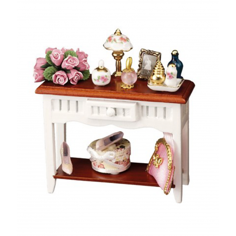 Dolls House White Console Table with Accessories Reutter Bedroom Furniture 1:12