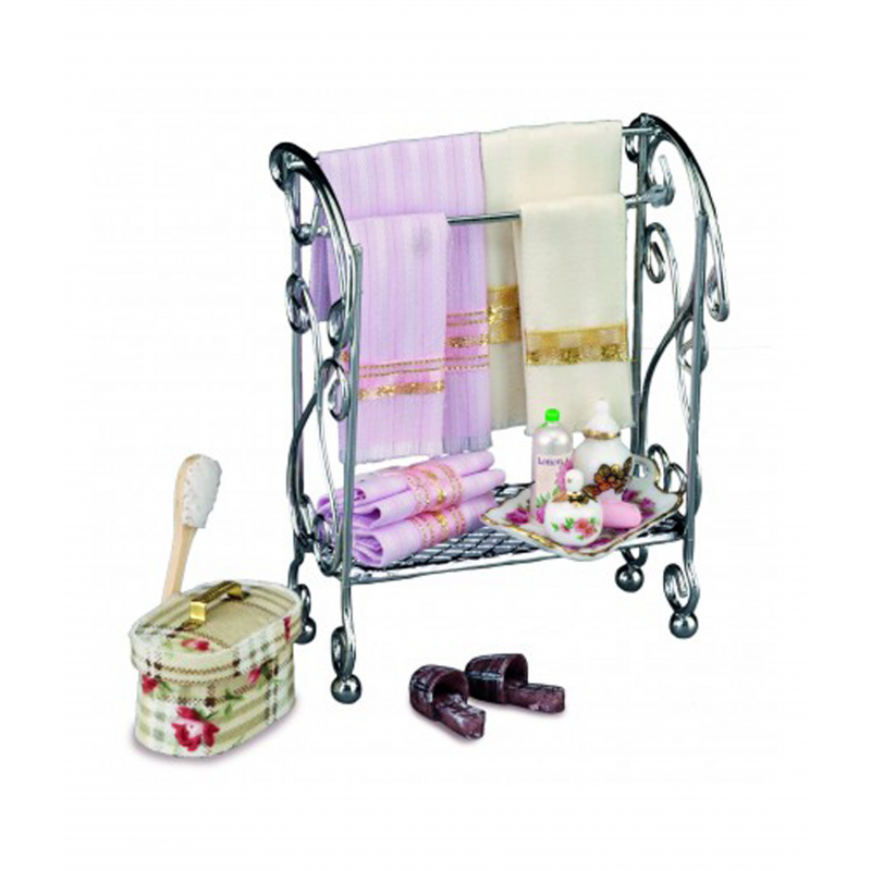 Dolls House Towel Stand with Accessories Miniature Reutter Bathroom Furniture
