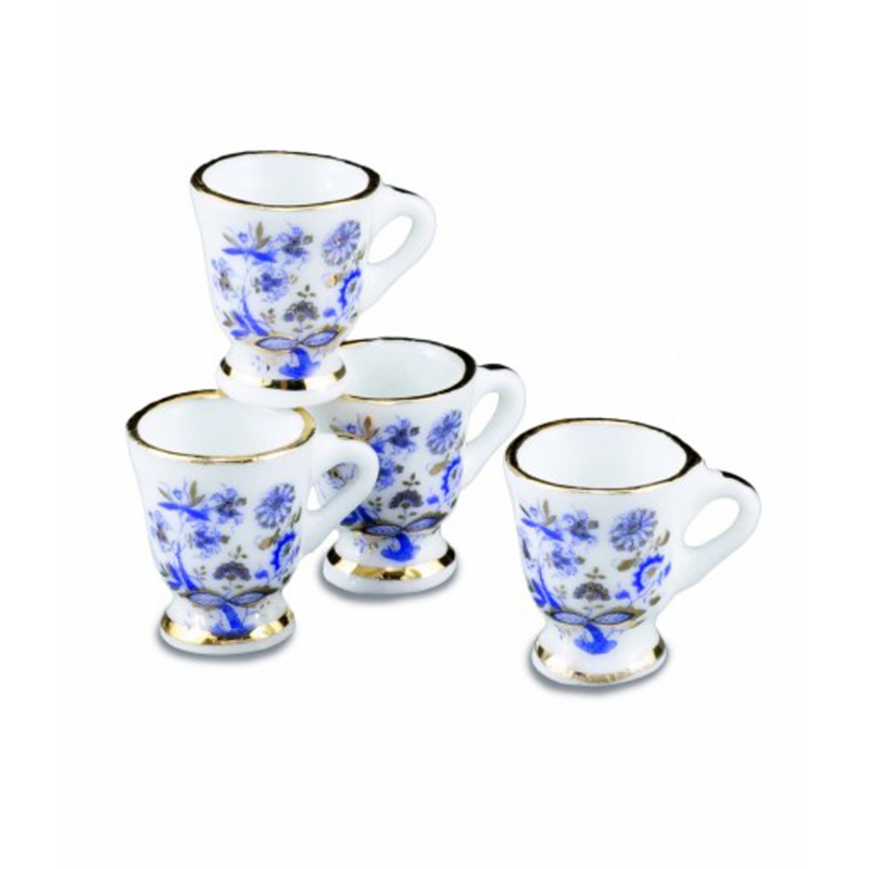 Dolls House 4 Blue and Gold Floral Mugs Reutter Dining Kitchen Accessory 1:12