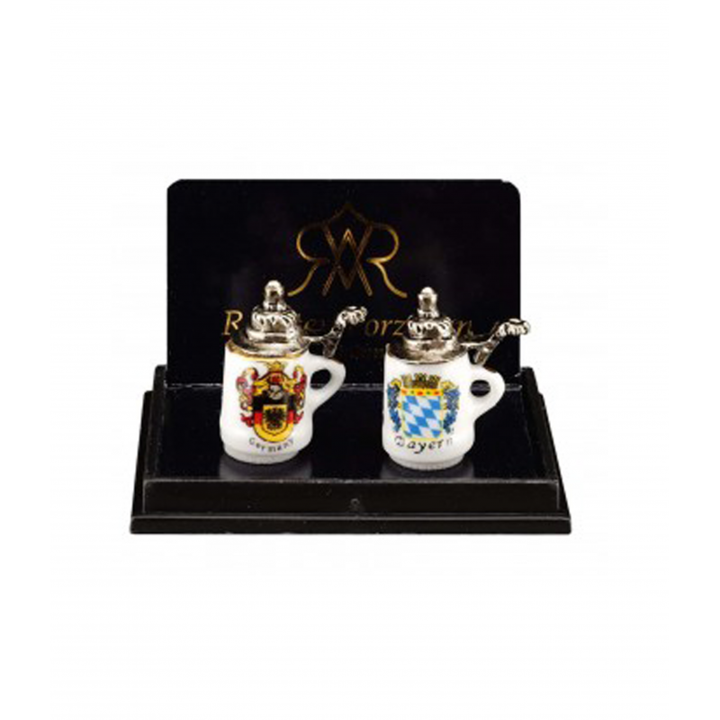 Dolls House Two Beer Steins Tankards Reutter Dining Kitchen Pub Accessory 1:12