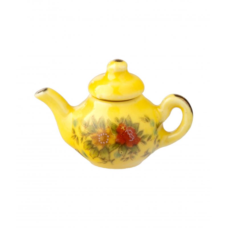 Dolls House Yellow & Gold Floral Teapot Miniature Kitchen Dining Accessory 1:12