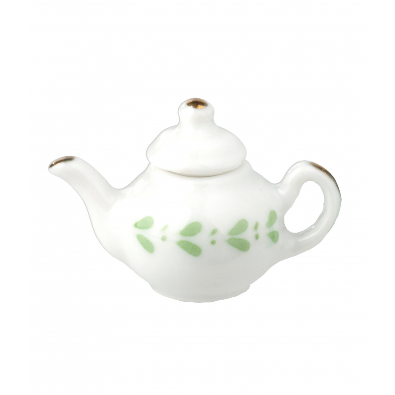Dolls House White & Green Teapot Miniature Kitchen Dining Accessory 1:12 Scale