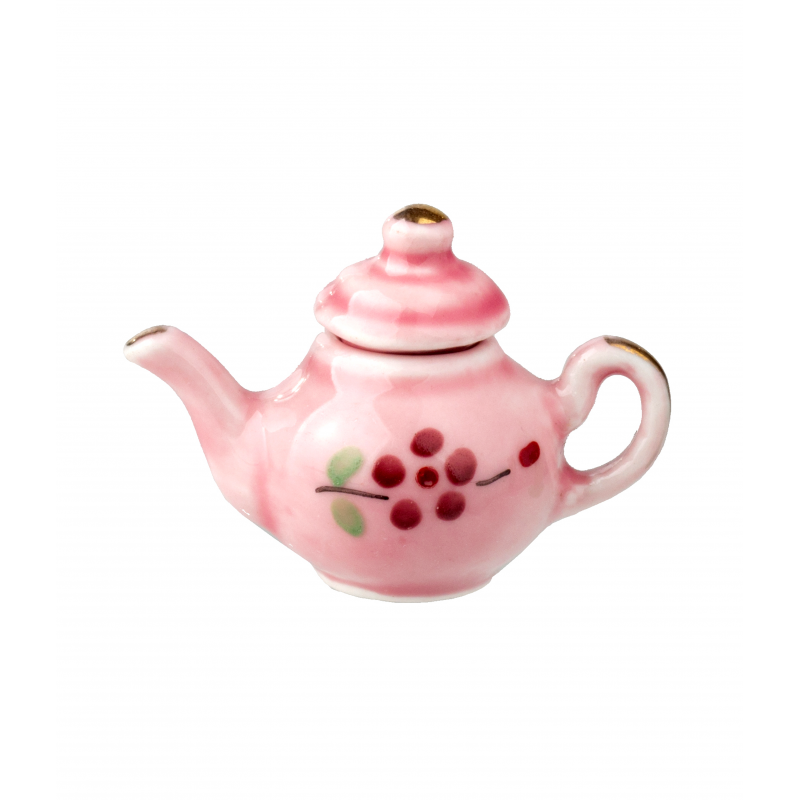 Dolls House Pink & Red Floral Teapot Miniature Kitchen Dining Accessory 1:12