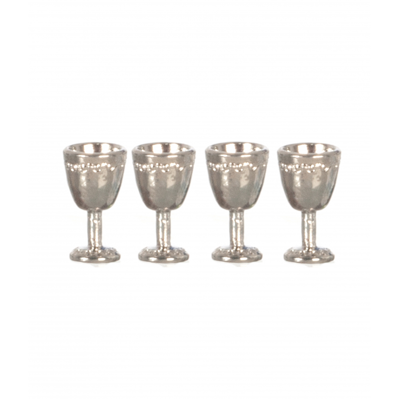 Dolls House 4 Silver Goblet Wine Glasses Miniature Dining Room Pub Bar Accessory
