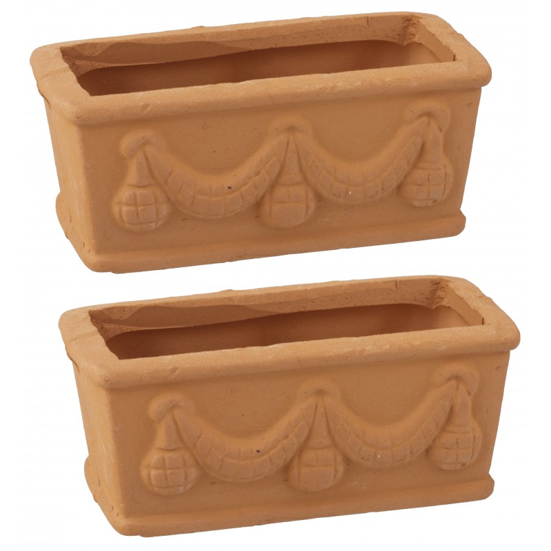 Dolls House 2 Swag Embossed Planters Miniature Plant Pots Garden Accessory